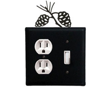 Pine Cone Wrought Iron Switch Plate / 1 Duplex - 1 Toggle