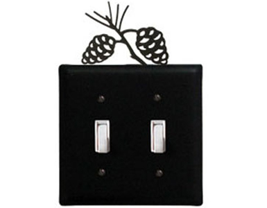 Pine Cone Wrought Iron Switch Plate / 2 Toggle