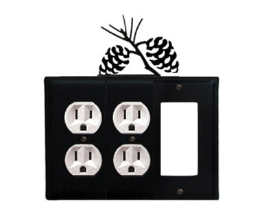 Pine Cone Wrought Iron Switch Plate / 2 Duplex - 1 Rocker