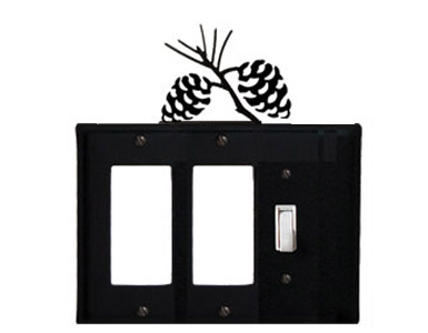 Pine Cone Wrought Iron Switch Plate / 2 Rocker - 1 Toggle