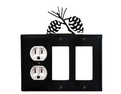 Pine Cone Wrought Iron Switch Plate / 1 Duplex - 2 Rocker