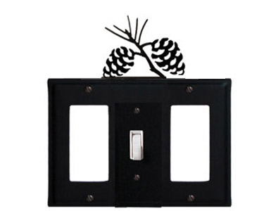 Pine Cone Wrought Iron Switch Plate / 1 Rocker - 1 Toggle - 1 Rocker
