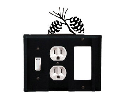 Pine Cone Wrought Iron Switch Plate / 1 Toggle - 1 Duplex - 1 Rocker