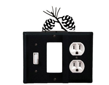 Pine Cone Wrought Iron Switch Plate / 1 Toggle - 1 Rocker - 1 Duplex