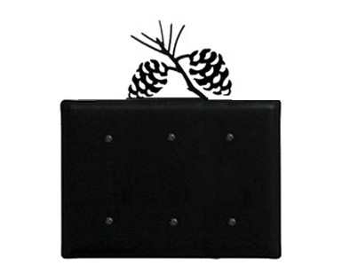 Pine Cone Wrought Iron Switch Plate / 3 Plain