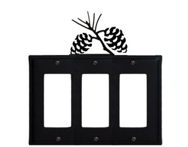Pine Cone Wrought Iron Switch Plate / 3 Rocker