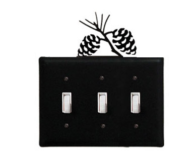 Pine Cone Wrought Iron Switch Plate / 3 Toggle