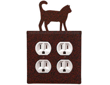 Cat - Rust Wrought Iron Outlet Cover / 2 Duplex