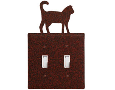 Cat - Rust Wrought Iron Switch Plate / 2 Toggle