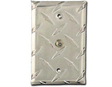 Diamond Plate Aluminum - Silver Switch Plate / 1 Cable