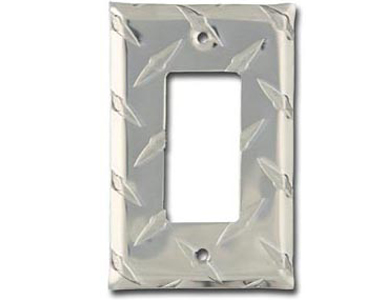Diamond Plate Aluminum - Silver Switch Plate / 1 Rocker