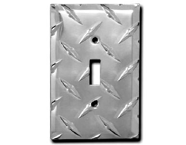Diamond Plate Aluminum - Silver Switch Plate / 1 Toggle