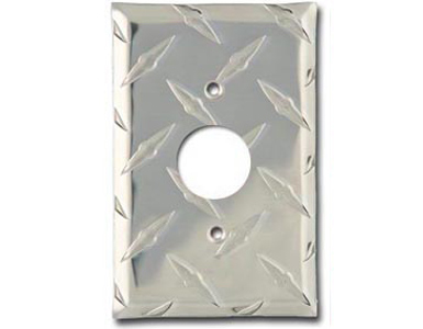 Diamond Plate Aluminum - Silver Switch Plate / 1 120V AC