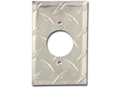 Diamond Plate Aluminum - Silver Switch Plate / 1 230V AC-20 Amp