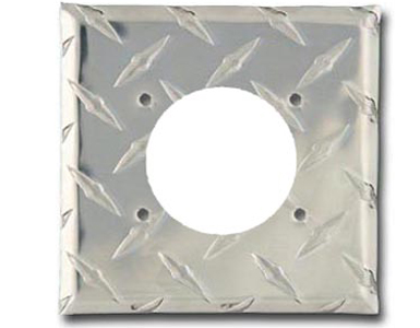 Diamond Plate Aluminum - Silver Switch Plate / 1 230V AC-50 Amp