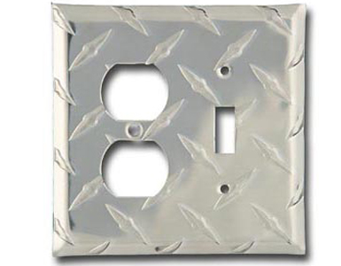 Diamond Plate Aluminum - Silver Switch Plate / 1 Toggle - 1 Duplex
