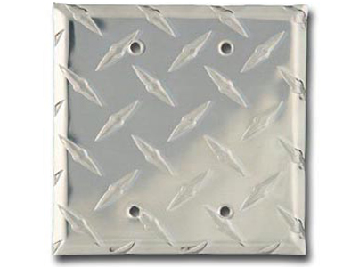 Diamond Plate Aluminum - Silver Switch Plate / 2 Blank