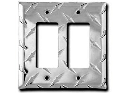 Diamond Plate Aluminum - Silver Switch Plate / 2 Rocker