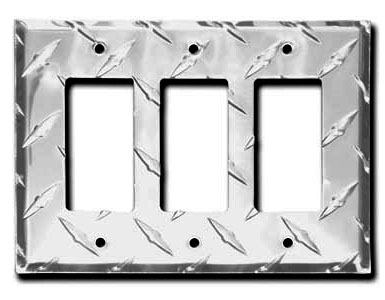Diamond Plate Aluminum - Silver Switch Plate / 3 Rocker