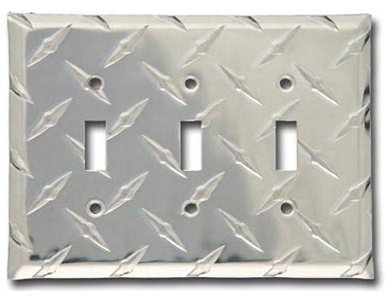 Diamond Plate Aluminum - Silver Switch Plate / 3 Toggle