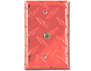 Diamond Plate Aluminum - Red Switch Plate / 1 Cable