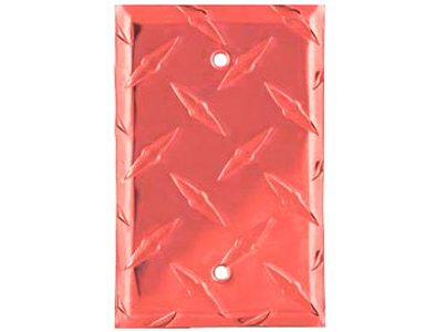 Diamond Plate Aluminum - Red Switch Plate / 1 Blank
