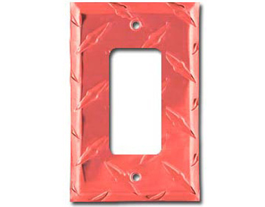 Diamond Plate Aluminum - Red Switch Plate / 1 Rocker