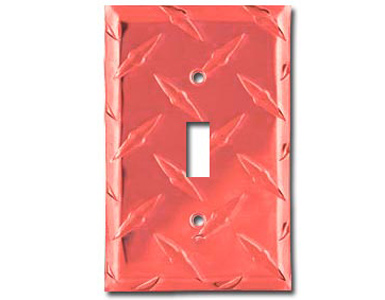 Diamond Plate Aluminum - Red Switch Plate / 1 Toggle