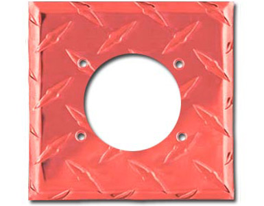 Diamond Plate Aluminum - Red Switch Plate / 1 230V AC-50 Amp