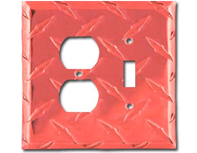 Diamond Plate Aluminum - Red Switch Plate / 1 Toggle - 1 Duplex