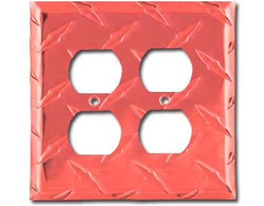 Diamond Plate Aluminum - Red Outlet Cover / 2 Duplex