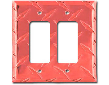 Diamond Plate Aluminum - Red Switch Plate / 2 Rocker