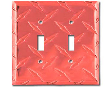 Diamond Plate Aluminum - Red Switch Plate / 2 Toggle