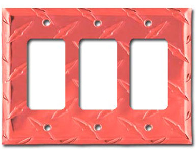 Diamond Plate Aluminum - Red Switch Plate / 3 Rocker