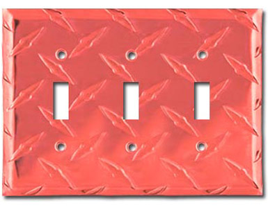 Diamond Plate Aluminum - Red Switch Plate / 3 Toggle
