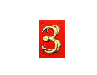 Animal Themed House Numbers - Gold Octopus - Red Backer / 3