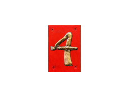 Animal Themed House Numbers - Gold Pelican - Red Backer / 4