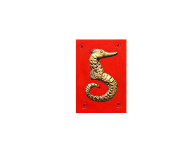 Animal Themed House Numbers - Gold Sea Horse - Red Backer / 5