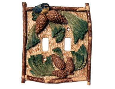 Pinecone Switch Plate / 2 Toggle