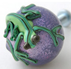 Blue Drawer Knob with Green Gecko