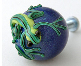 Purple Drawer Knob with Green Gecko