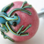 Pink Drawer Knob with Tropical Blue Gecko