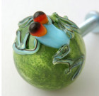 Green Drawer Knob with Tropical Blue Gecko