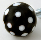 Black Drawer Knob with White Dots