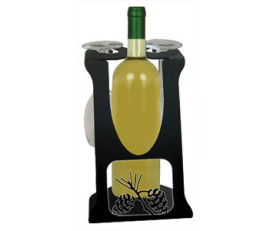 Solid Wrought Iron Pinecone Design – Wine Holder Caddy for Two