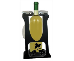 Solid Wrought Iron Grapevine Design – Wine Holder Caddy for Two