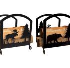 Solid Wrought Iron Moose & Bear Wood Rack