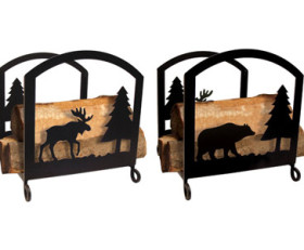 Solid Wrought Iron Moose & Bear Wood Rack