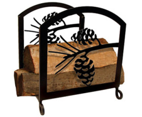Solid Wrought Iron Pinecone Wood Rack