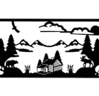 Solid Wrought Iron Wall Art Log Cabin